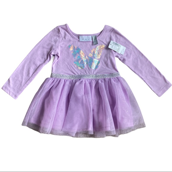 Lavender Dress with Holographic Butterfly Design